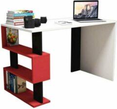 Homemaniac Homemania Computerbureau Snap 120x60x75 cm wit zwart en rood