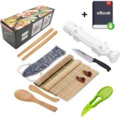Duurzame Sushi Set - Sushi maker set - Sushi kit - Sushi roller - All In One sushi set - Milieuvriendelijk - Sushi Starter Kit - Sushi mat roller - Sushi bazooka kit - Zelf sushi maken - Inclusief GRATIS Online Sushi Kookboek en avocado snijder - Wit