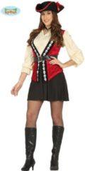 Rode Guirca Piraat & Viking Kostuum | Doodshoofd Pirate | Vrouw | Maat 38-40 | Carnaval kostuum | Verkleedkleding