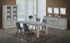 Andisan 3-delige eetplaats ENAL 190 in lichtgrijze eikkleur met gemarmerde profielen en bovenbladen