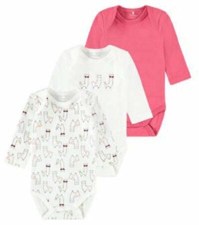 Afbeelding van Name it baby newborn baby romper set van 3 wit roze