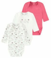 NAME IT BABY newborn baby romper - set van 3 wit/roze