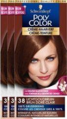 Schwarzkopf Poly Palette Poly Color Creme Haarverf 38 - Lichtgoudbruin - 3 st - voordeelverpakking