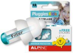 Blauwe Alpine Hearing protection Alpine Pluggies Kids - Gehoorbescherming voor kinderen - Oordoppen - Wit - SNR 25 dB - 1 paar