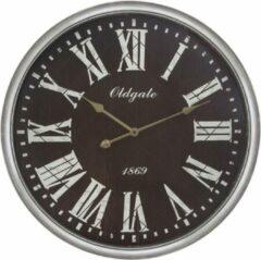 Grijze Modernklokken.nl Wandklok OLDGATE, Ø76, Donker Bruin