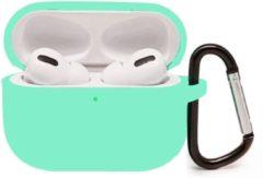 Ntech Apple AirPods Pro Soft Silicone Hoesje Met sleutelhanger - Mint Groen
