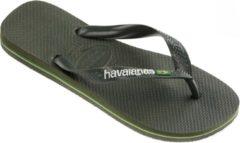 Havaianas Brasil Logo Unisex Slippers - groen Olive - Maat 35/36