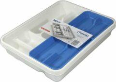 Blauwe Tontarelli Mixy bestekbak met dubbele tray 31x39,5xh7 cm