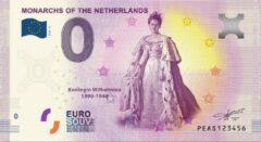 Paarse 0 Euro Biljet 2020 - Vorsten van Nederland - Koningin Wilhelmina
