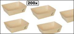 Naturelkleurige Depa 200x Bakje Bamboepapier taps toelopend 120x104x37mm.