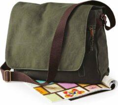 Zwarte Canvas schoudertas legergroen/donkergroen 14 liter - Vintage schoudertassen/documententassen - Tassen voor dames/heren/volwassenen