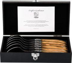 Bruine Laguiole Style de Vie Luxury Line Lepels – Olijfhout - 6 Stuks - RVS