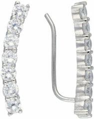 Classics&More Lovenotes oorbellen - earcuffs - oorklimmer - zilver - gerodineerd - zirkonia
