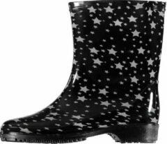 Apollo Half hoge dames regenlaarzen zwart met grijze sterren print - Rubberen laarzen/regenlaarsjes dames 38