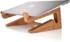 Bruine QUVIO Laptop standaard van hout - Ergonomisch werken - Universeel - Laptop verhoger - Laptophouder - Laptop accessoire