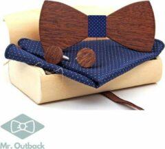 Mr. Outback Mr. Bow Tie - Houten vlinderstrik met Manchetknopen en Pochet - Blauw - hout zonder motief