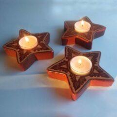 Sasak pottery Ster - Waxinelichthoudertje - Bruin - Set van 3