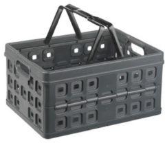 Antraciet-grijze Sunware Square Vouwkrat - Met 2 extra handgrepen - 32 l - antraciet/zwart