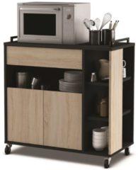 Young Furniture Keukentrolley Indus 77 cm hoog in eiken met zwart