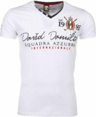 David Copper Italiaanse T-shirt - Korte Mouwen Heren - Borduur Squadra Azzura - Wit Heren T-shirt S