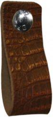 Bruine NiiNiiX Leren handgreep met crocodile print bruin - 3 - Maat S 3,0 x 15 cm