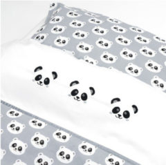Grijze Fabs World Dekbedovertrek met Panda in de maat 100x135