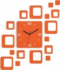 Mandee.nl Roman 3D Zelfklevende Wandklok Oranje 60 CM X 52 CM