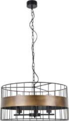 COREP Hanglamp van ruw metaal - Ø 58 cm - H 30 cm - 40 W - Zwart en brons
