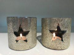 Zilveren Home Society Glass Hurricane Star S twee stuks