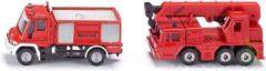 Rode Siku brandweer Unimog en kraanwagen (1661)