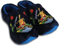 Woodenshoes by Wilhelmus Klomppantoffels Blauw met windmolen maat 42 - 44
