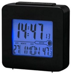 Denver rec34wh black Digital radiocontrolled alarm met blue