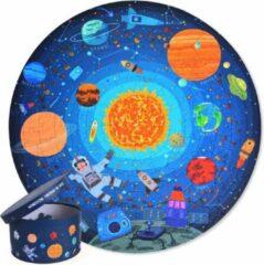 MiDeer - Ronde Puzzels - 150 puzzelstukjes in een mooie geschenkdoos - Loop in de Ruimte: Satelliet + Planeet + Raket + Ruimteschip + Astronaut - Puzzel voor kinderen vanaf 5 jaar