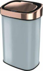 Roestvrijstalen Stangvollby sensor prullenbak - 58L - Hygiënische automatische deksel - RVS - Soft close - Vingerafdrukvrij - Grijs met koperen rand Design - NO.09