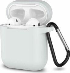 JVS Products Apple Airpods 1 en 2 ultra dunne siliconen cover - Hoesje - extra dunne Apple Airpods siliconen cover met sleutelhanger - Wit