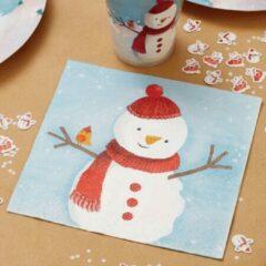 Rode Ginger ray Papieren servetten - Sneeuwman (20 stuks)