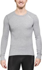 Licht-grijze Odlo Shirt L/S Crew Neck Active Originals Warm Sportshirt Heren - Grey Melange - M