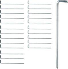 Zilveren Relaxdays tentharingen set - 24 stuks - haringen - grondpen - haring - staal - kamperen