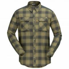 Norrøna - Svalbard Flannel Shirt - Overhemd maat S, olijfgroen/grijs/zwart