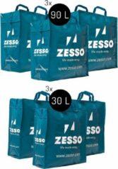 Blauwe Zesso Big Shopper Mix Zesso Bag 3x M, 3x L - Voordeelpakket Set van 6