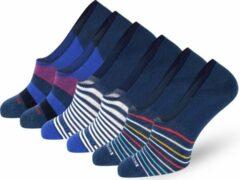 Blauwe Easton Marlowe Sokken Dames 35-38 - No Show Sokken Footies - 6 Paar - Katoen Naadloze Sneakersokken Enkelsokken - Siliconen Hiel - Dames Sokjes Sneaker Dames Voetjes #5-2