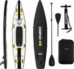Gymrex Inflatable SUP-bord - 120 kg - zwart/geel - set met peddel en accessoires