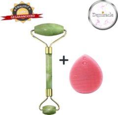 Demiracle Jade Face Roller met Roze Siliconen Gezichtsborstel - Cadeau - Gezichtsroller - Massage Roller - Jade Roller - Rimpelverwijdering - Ontspanning - Kwaliteit