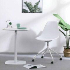 DS4U® Capri bureaustoel - design bureaustoel - kuipstoel - kunststof - met wieltjes - wit - draaibaar