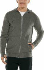 Coolibar - UV-werende full zip hoodie voor heren - LumaLeo Zip-Up - Houtskool - maat XL