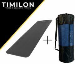 Timilon® fitness mat - yoga mat - 180 x 61 x 1,5cm - inclusief draagriem - donkergrijs