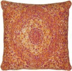 Perezvloerkleden.nl Vintage sierkussen - Tatum PS oranje - Chenille katoen - 45 X 45cm voor in de bank
