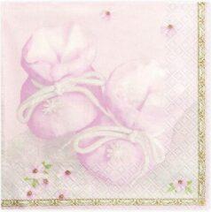 PartyDeco Servetten Bootees, roze, 33 x 33 cm (1 zakje met 20 stuks)
