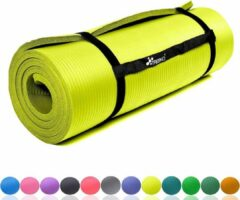 Tresko Fitnessmat geel 1,5 cm dik, fitnessmat, pilates, aerobics