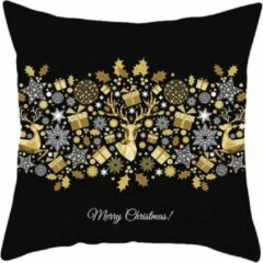 @dvance products Kersthoes sierkussen met rendieren, cadeautjes en sterren | 45x45 cm | zwart/goud/wit